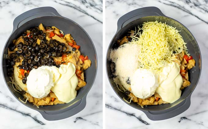 Black beans, vegan sour cream, vegan mayo and cheeses are given to the mixing bowl.