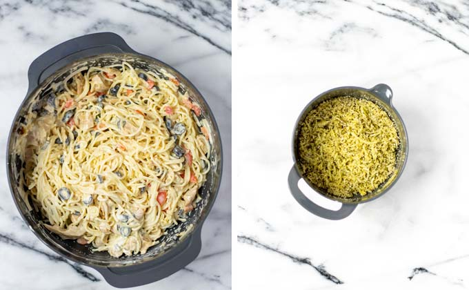 In a small bowl, vegan cheeses and breadcrumbs are mixed to make a topping.