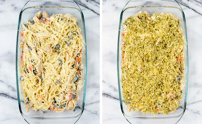 Spaghetti mixed with vegetables and cheeses are given into a casserole and topped with topping.