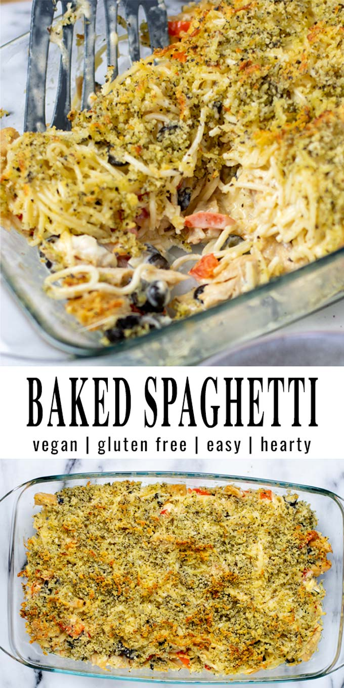 Collage of two pictures of the Baked Spaghetti with recipe title text.