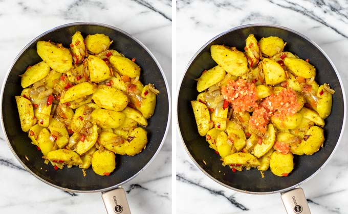 The tomato-garlic-ginger mix is added to the potatoes in a frying pan.