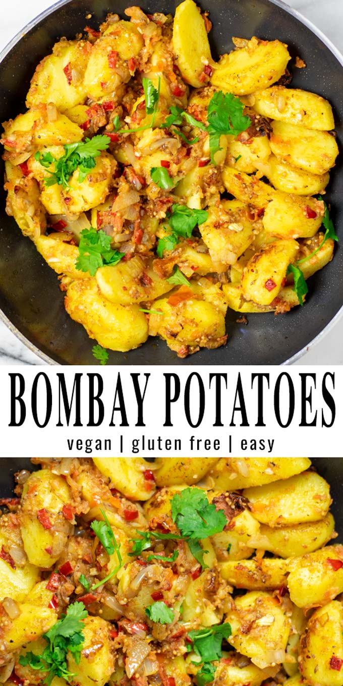 Collage of two pictures of the Bombay Potatoes with recipe title text.