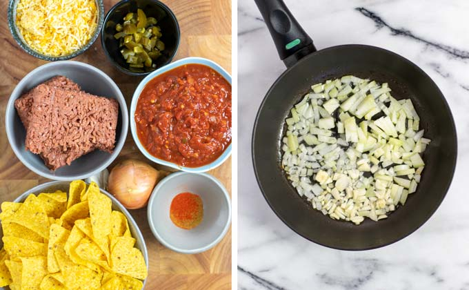 Ingredients for the Chilaquiles collected on a wooden board.