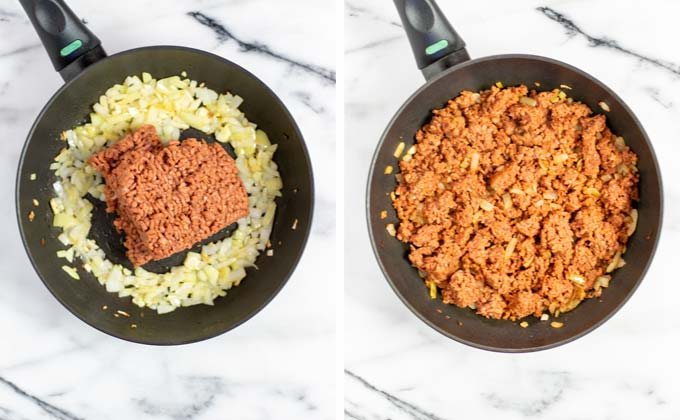 Vegan ground beef is fried with onions in a small pan.