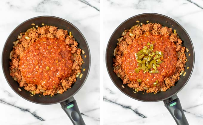 Salsa and jalapenos are given to the vegan ground beef mixture.