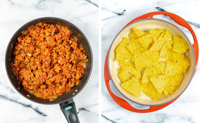 Starting the layering of the Chilaquiles with crunchy tortilla chips.