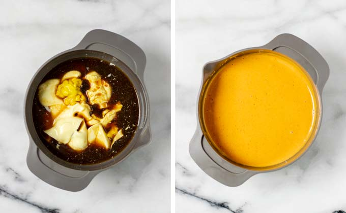 Side by side view of how the Comeback Sauce is make in a small bowl.
