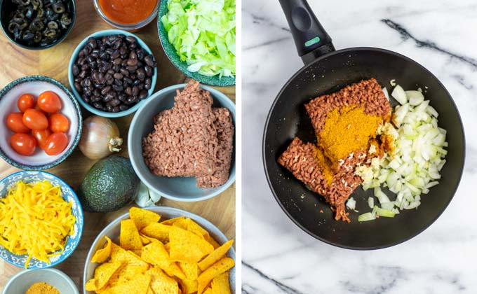Ingredients for the Dorito Taco Salad collected on a wooden board.