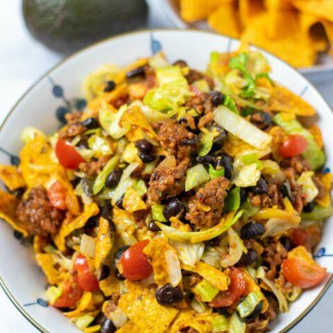 Portion of the Dorito Taco Salad in a big bowl.