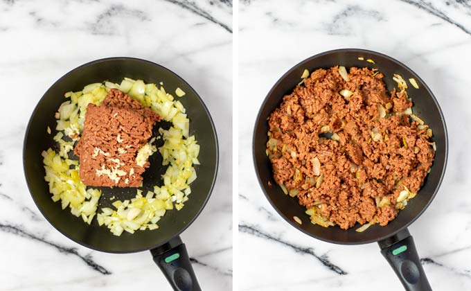 Onions and vegan ground beef are fried in a pan.