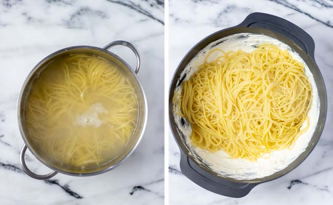 Hot, cooked spaghetti are given to the vegan cheese mix.