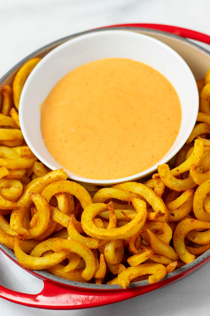 The Boom Boom sauce is served with curly fries from the oven.