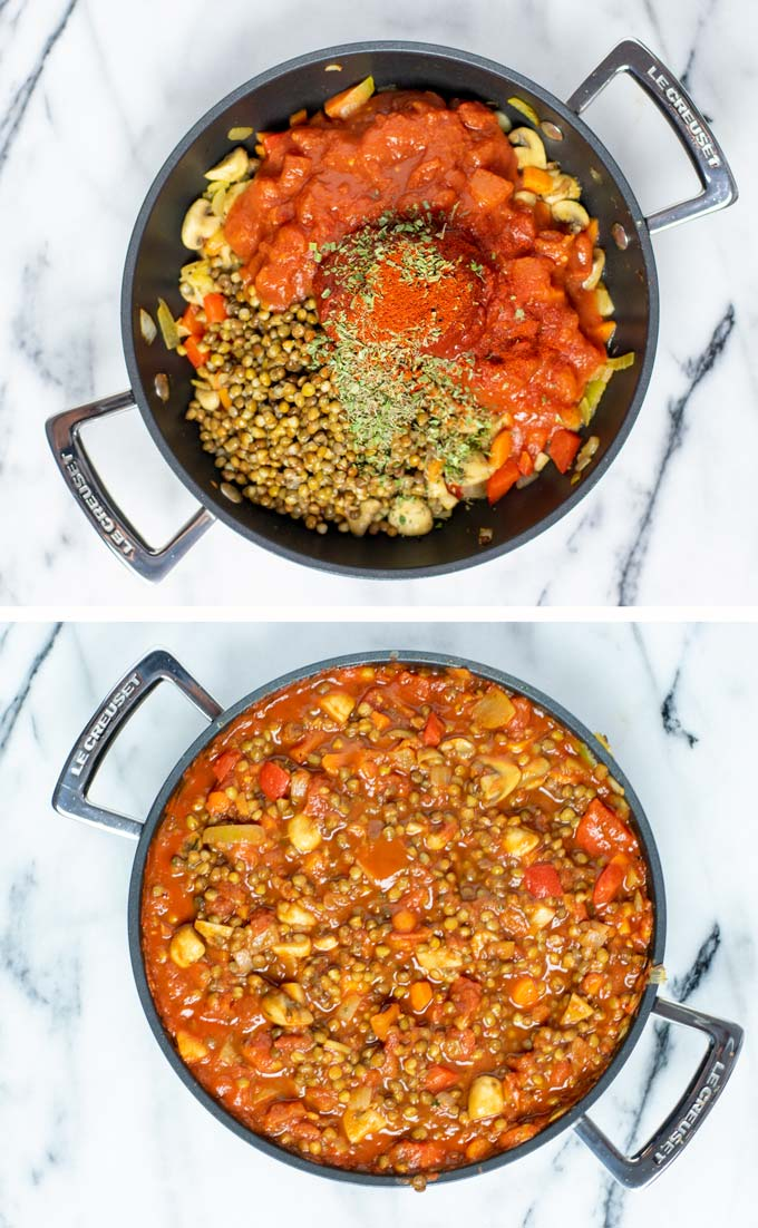 Showing how tomato sauce and seasoning are mixed with the fried vegetables.