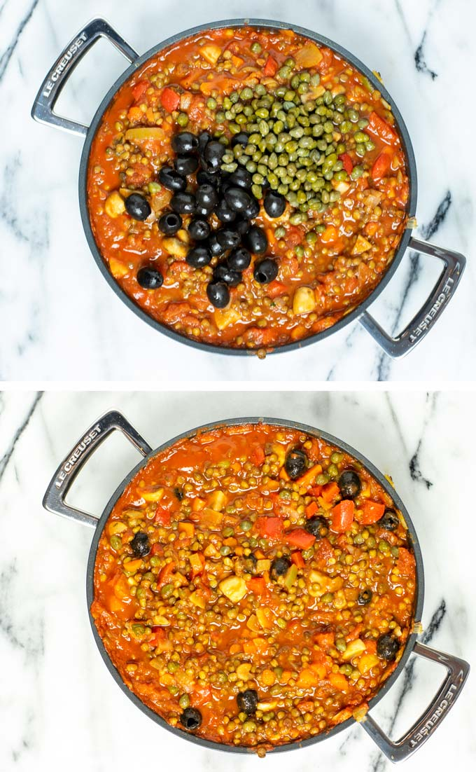 Black olives and capers are the last ingredients to be mixed into the Cacciatore.