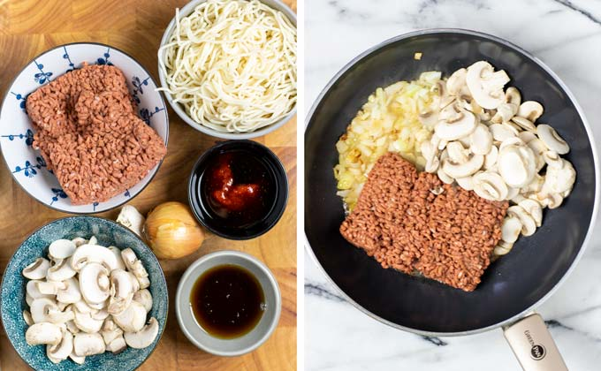 Ingredients for the Mushroom Noodles are assembled on a wooden board.