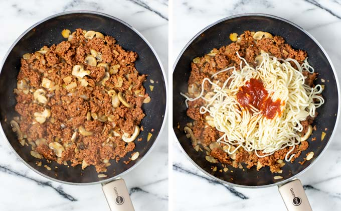 Side by side view of the fried mushrooms and vegan ground beef being mixed with leftover pasta.