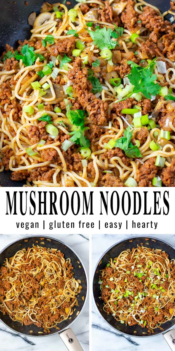 Collage of two pictures of the Mushroom Noodles with recipe title text.