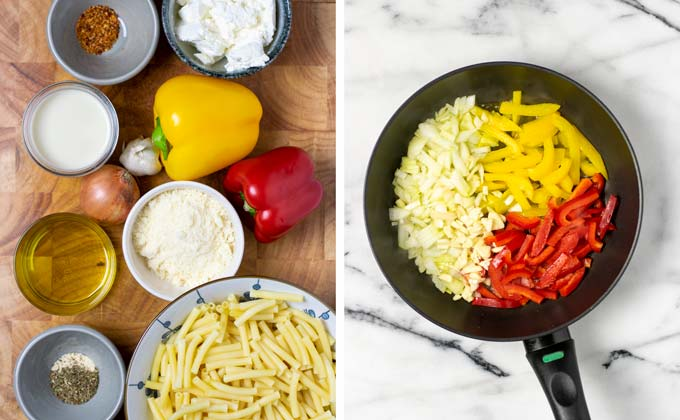 Ingredients for the Pasta Primavera assembled on a wooden board.