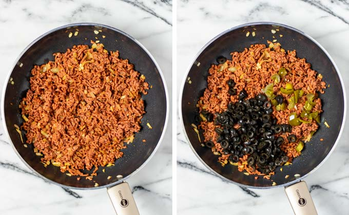 Vegan ground beef and black beans are fried in a pan.