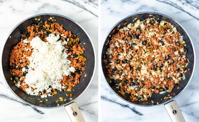 Precooked leftover rice is added to the bean and ground beef mixture in the pan.