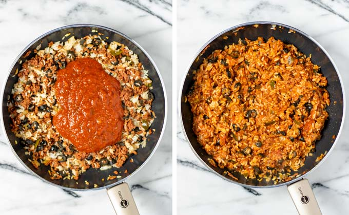 Tomato Sauce is mixed with the vegan ground beef mixture.