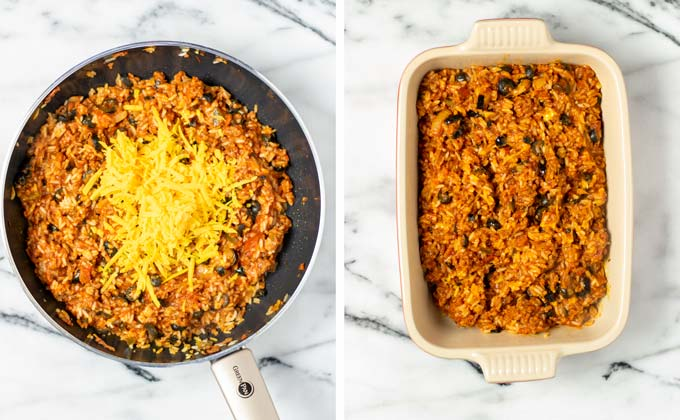 Shredded vegan cheddar is mixed with the rice and transferred to a casserole dish.