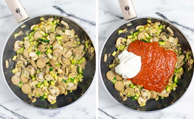 Vegan sausage, onions, zucchini, and mushrooms are fried in a pan, then mixed with tomato sauce and cream cheese.