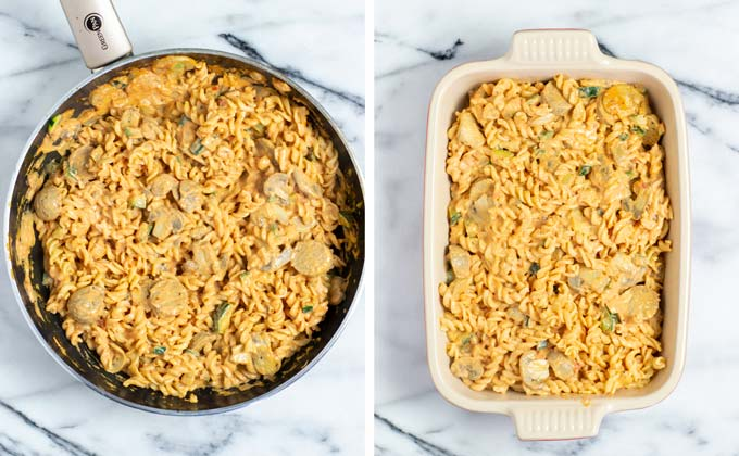 Zucchini Pasta is transferred from the pan to a casserole dish.