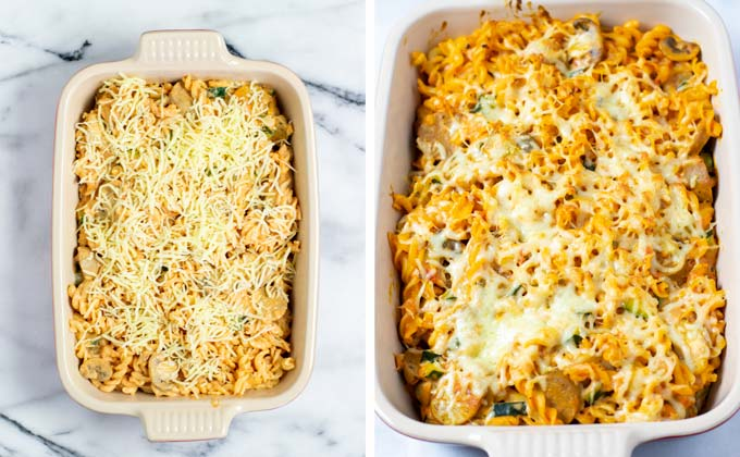 Showing the Zucchini Pasta covered with vegan cheese before and after baking.
