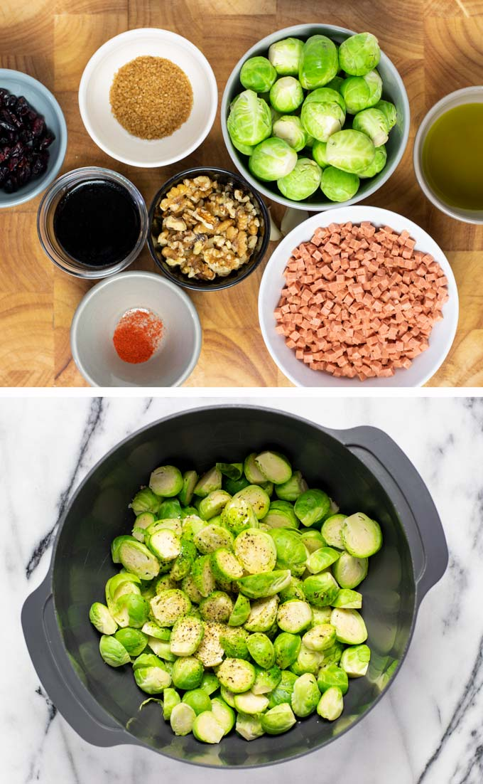 Ingredients needed to make these Crispy Brussels Sprouts collected on a wooden board.