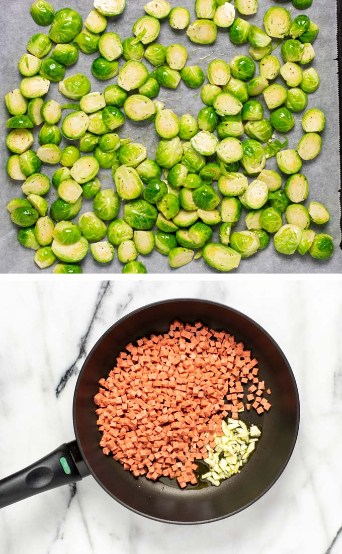 Combination of two pictures showing the Brussels Sprouts on a baking sheet and vegan bacon in a frying pan.