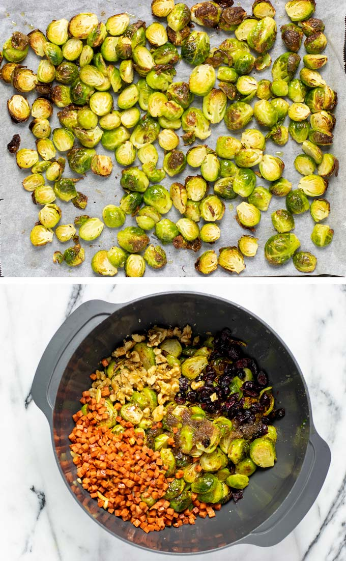Two pictures showing the roasted Brussels Sprouts and all ingredients mixed in a large mixing bowl.