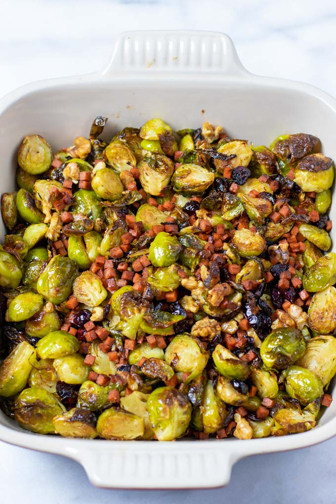 Closeup of the Crispy Brussels Sprouts in a casserole dish.
