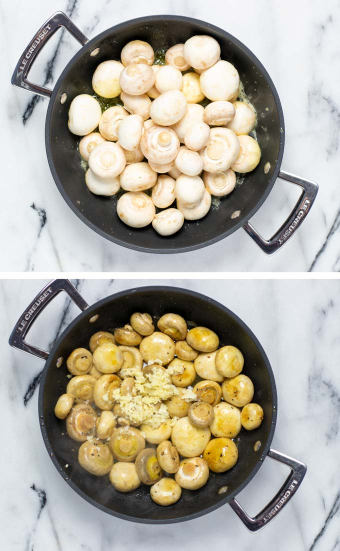Two pictures showing how the mushrooms are first fried in a mix of butter and olive oil.