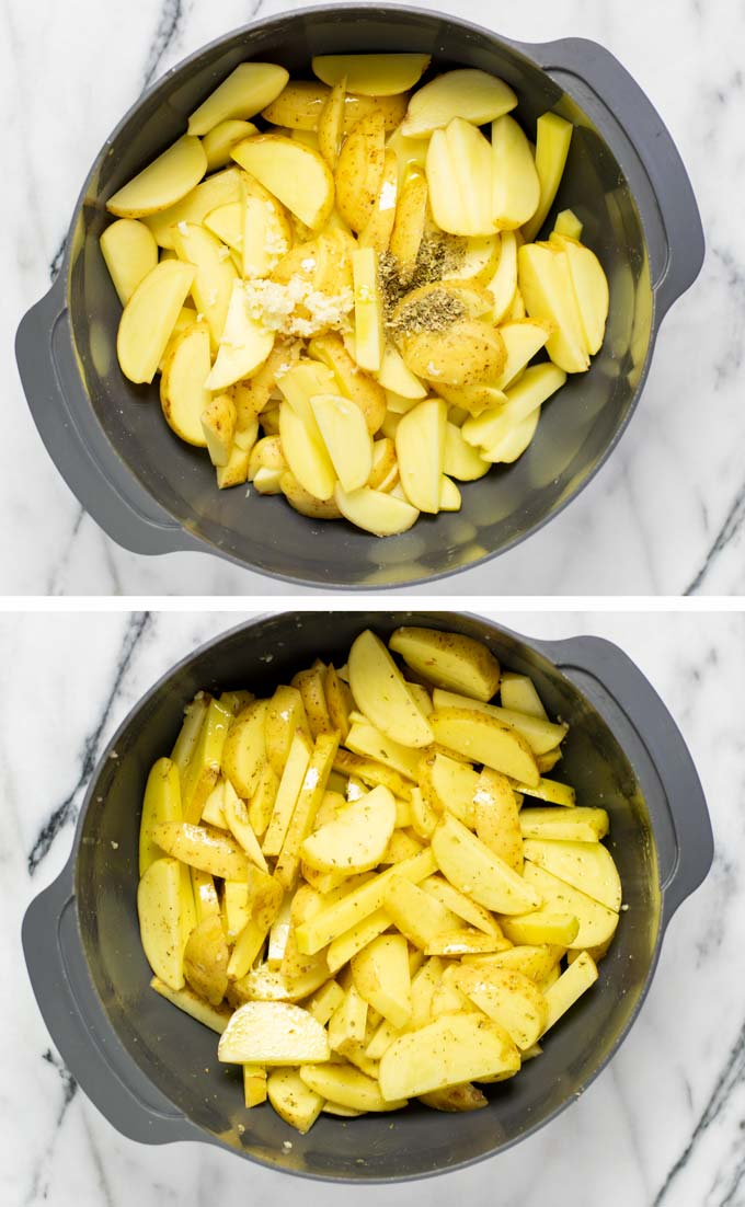 Side by side view of the hand-cut fries being mixed with spices and olive oil.