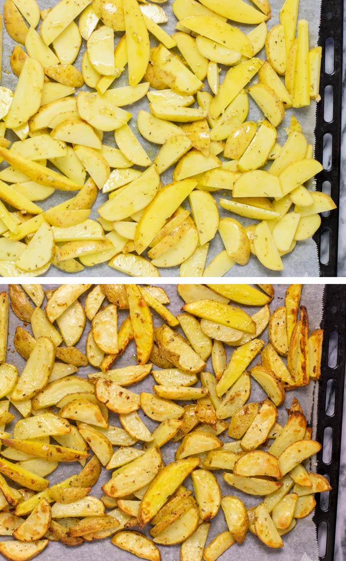 Before and after view of baking the fries on a baking sheet with parchment paper.