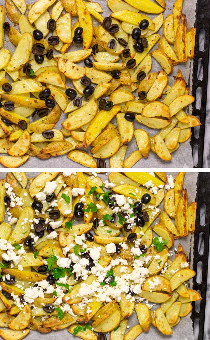The baked fries are loaded with the Greek toppings such as black olives, vegan feta crumbles and fresh parsley.
