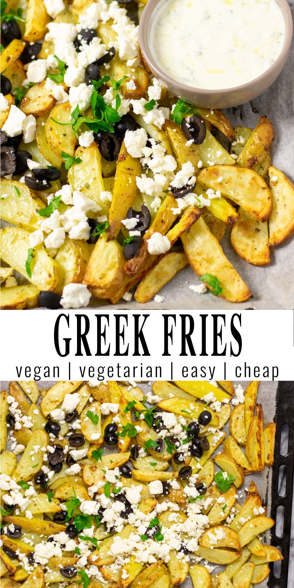 Collage of two pictures of the Green Fries with recipe title text.