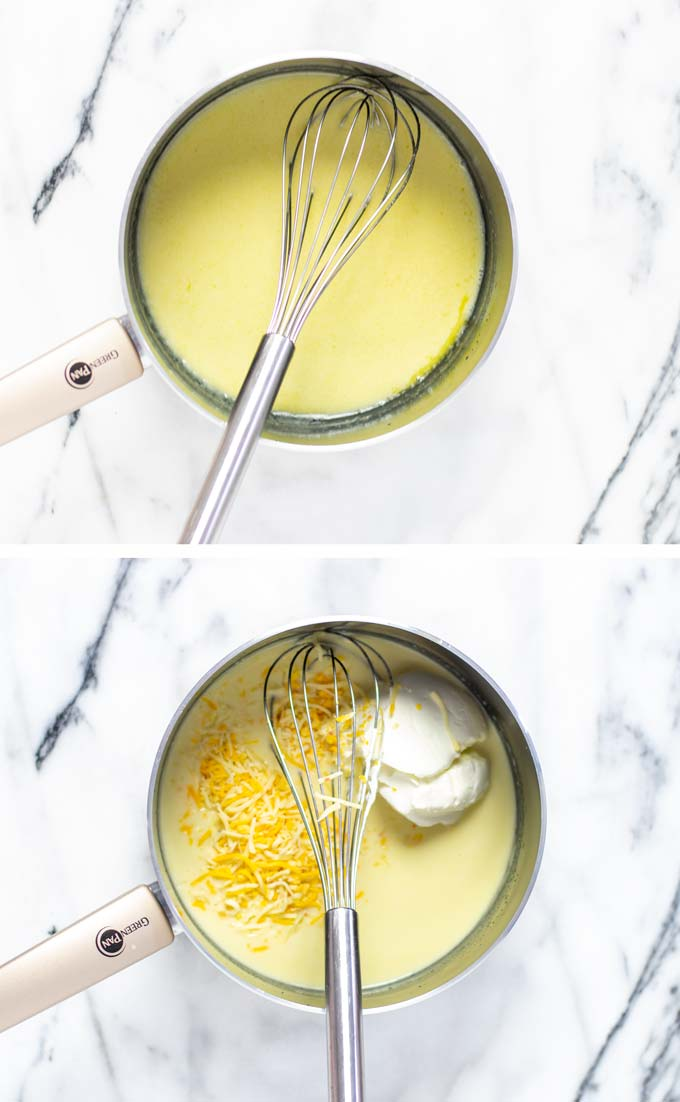 Two basic steps in making the white sauce from scratch: mixing in vegan cheeses.