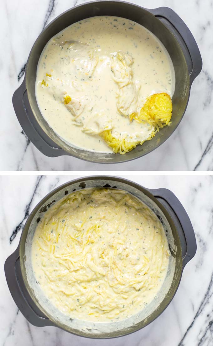 Showing in a large mixing bowl how the pre-fried hashed potatoes and the creamy white sauce are mixed.