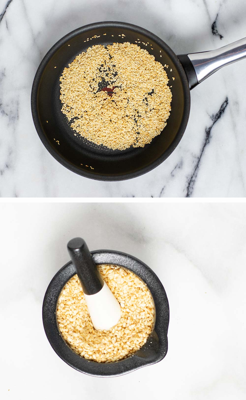 Showing how sesame is roasted in a pan and then crushed in a grinder.