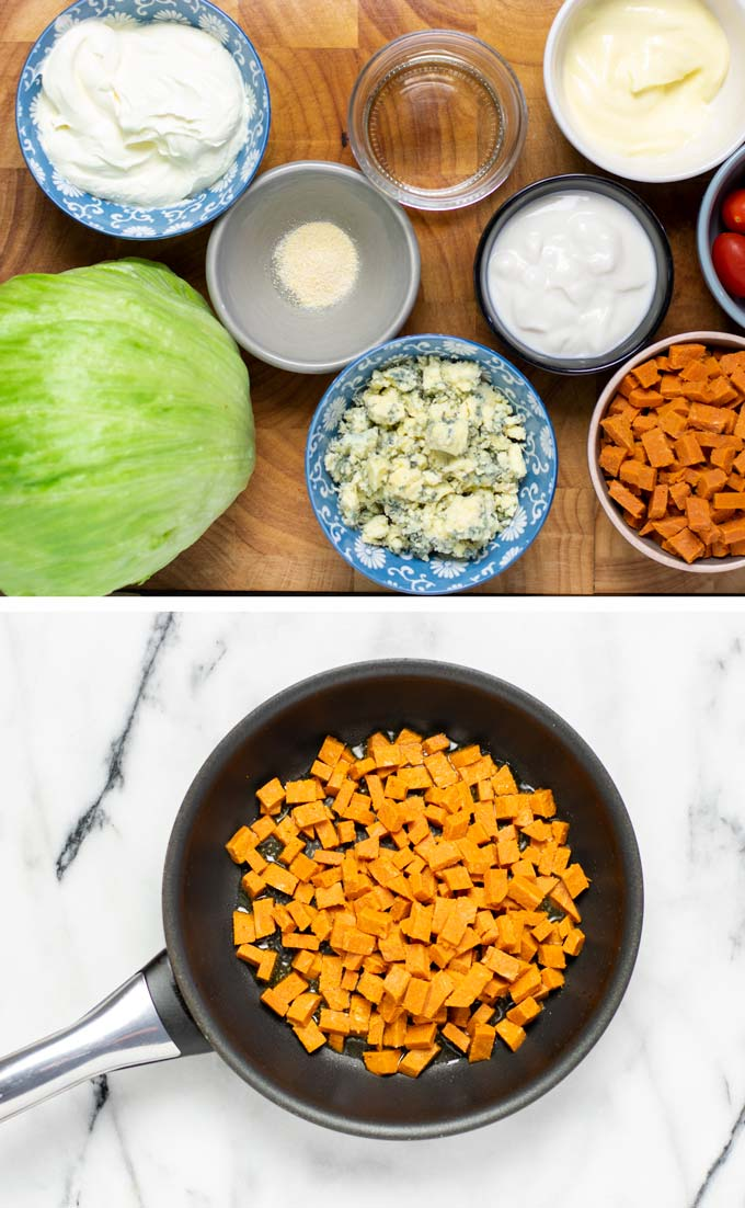 Ingredients needed to make the Wedge Salad assembled on a wooden board.