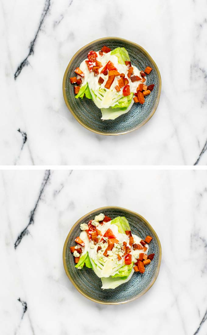 Step by step view on how the Wedge Salad is assembled on a small plate.