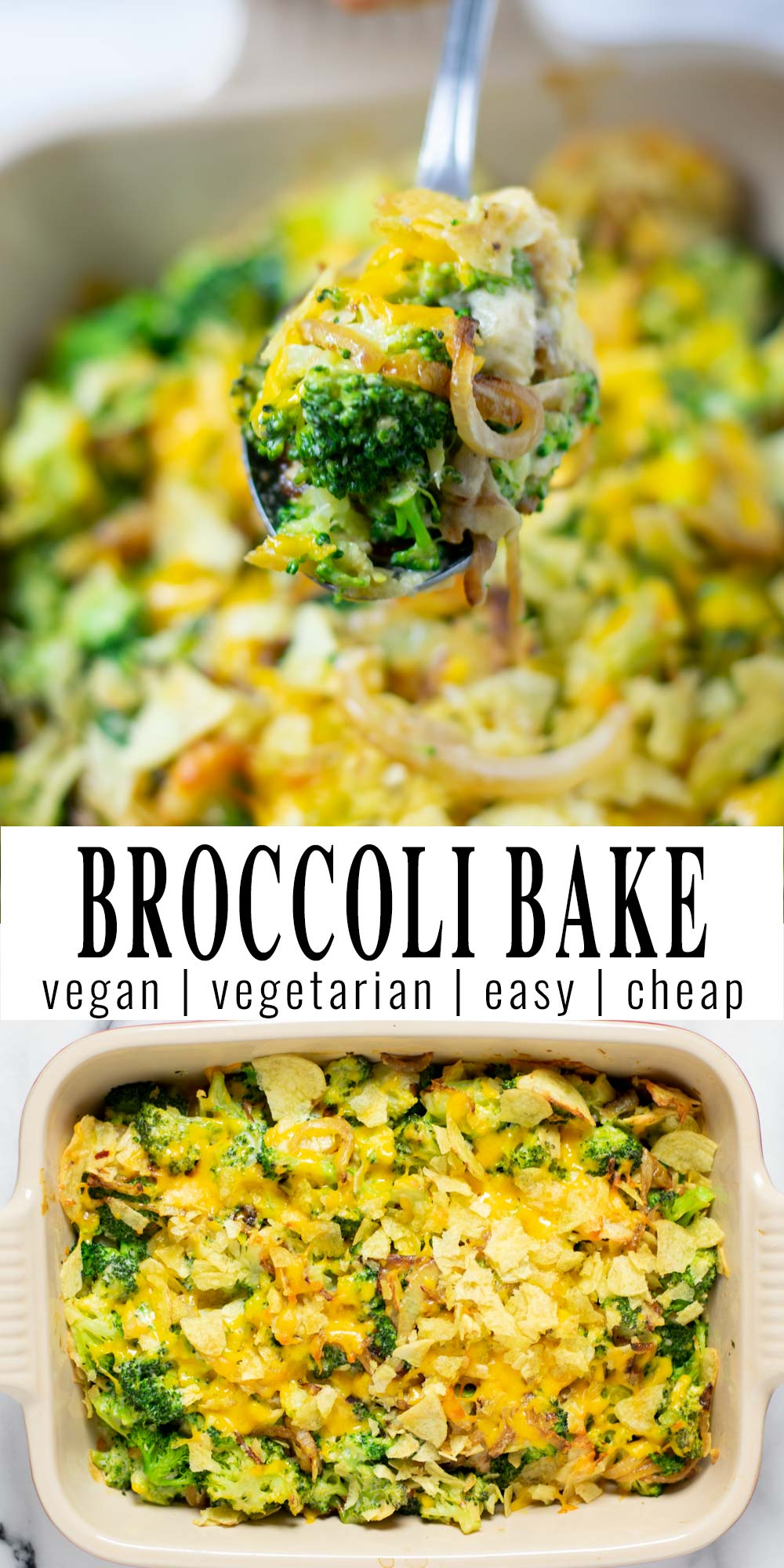 Collage of two pictures of the Broccoli Bake with recipe title text.