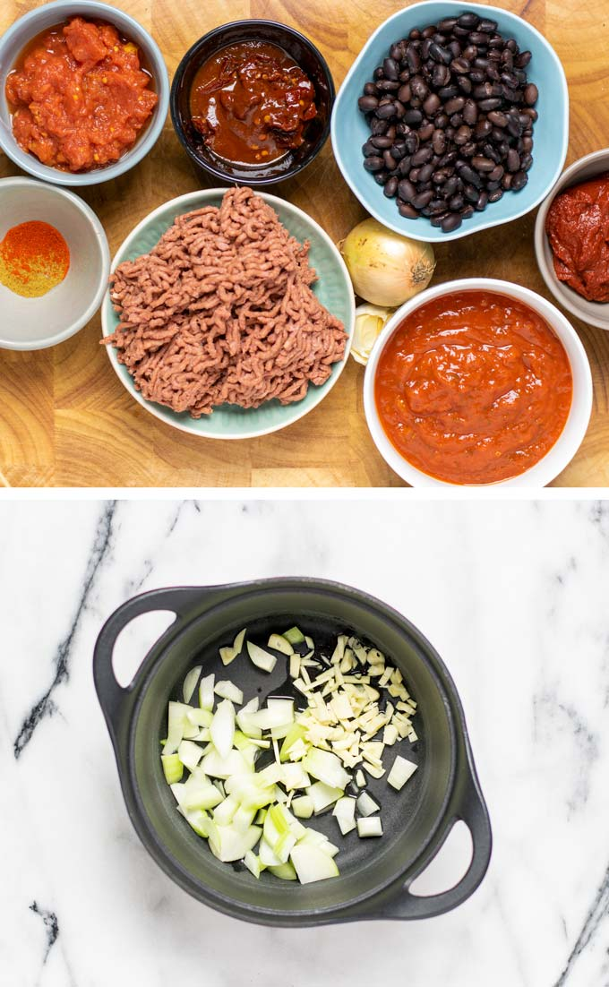 Ingredients needed to make the Chipotle Chili are assembled on a wooden board.