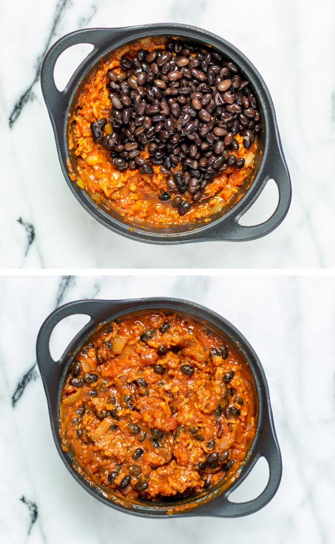 Black beans are added to the Chipotle Chili.