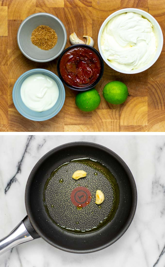 Ingredients needed to make this simple homemade Chipotle Sauce collected on a wooden board.