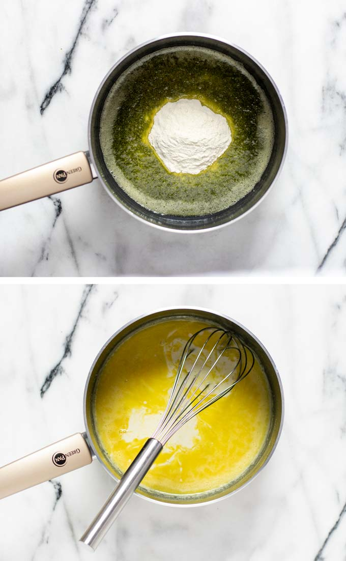 Steps how to make the base white sauce of the gravy in a saucepan, melting butter and mixing in flour and vegan milk.