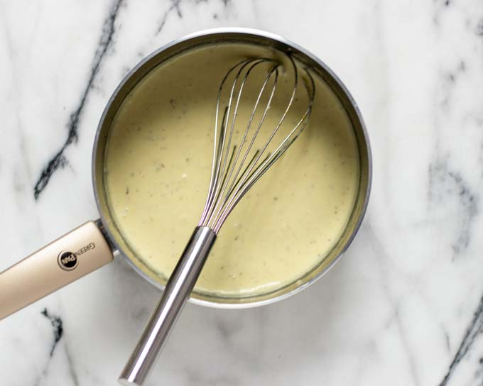 Top view of a sauce pan with the Country Gravy.