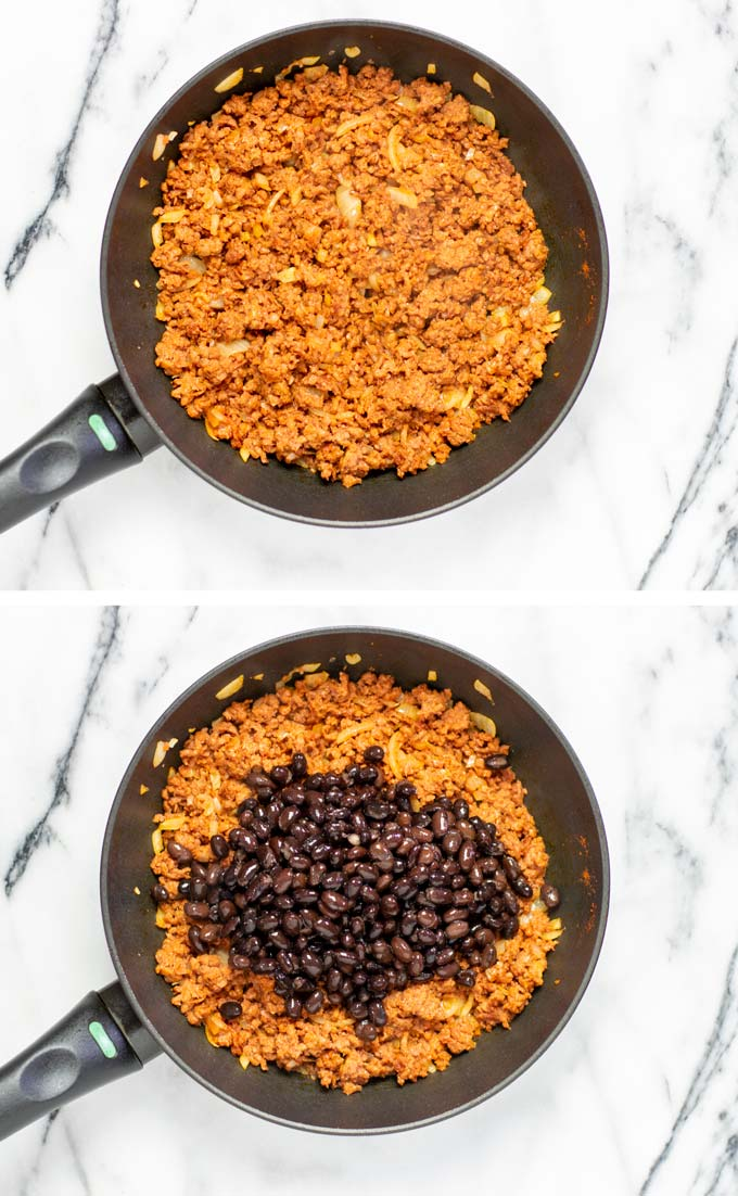 Step by step view of taco meat and black beans being prepared in a small frying pan.